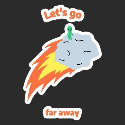Sticker Design Maker Featuring an Alien Riding an Asteroid 2339i