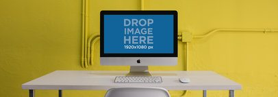 Wide Shot iMac Mockup in a Yellow Room a12730