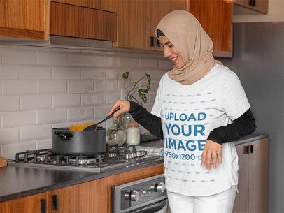T-Shirt Mockup Featuring a Woman Cooking 32394