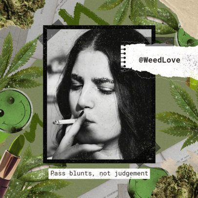 420-Themed Instagram Post Maker Featuring a Weed Background 2374h