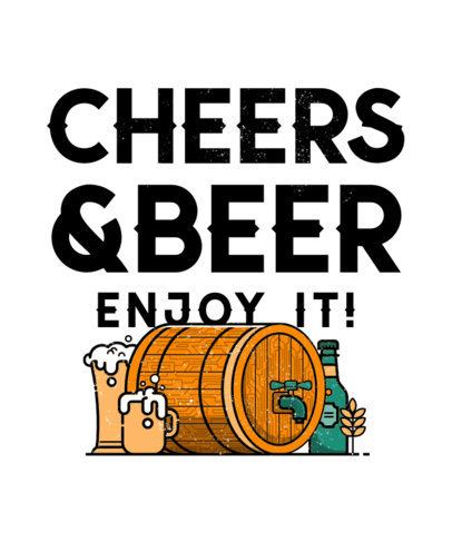 Cheerful T-Shirt Design Template Featuring Beer Graphics 570-el1