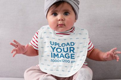 Sublimated Bib Mockup Featuring a Baby Girl 32482