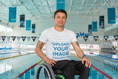 T-Shirt Mockup Featuring a Man at a Swimming Pool 32486