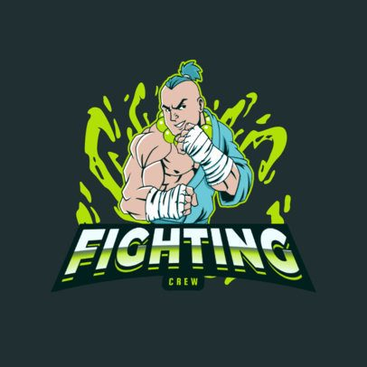Logo Maker for a Gaming Squad Featuring a Male Fighter Clipart 3075g
