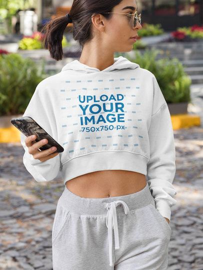 Athleisure Mockup Featuring a Woman Wearing a Crop Top Hoodie 32466