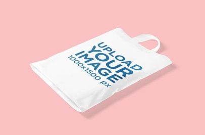 Mockup of a Plastic Bag Against a Plain Color Background 3472-el1