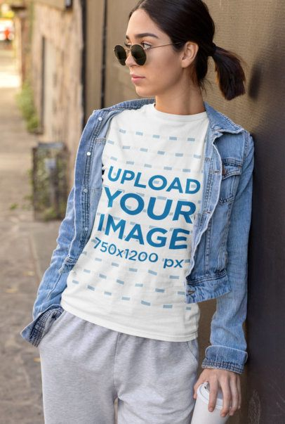 Athleisure T-Shirt Mockup Featuring a Stylish Young Woman 32472