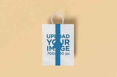 Mockup Featuring a Paper Bag With a Colored Band Placed Against a Plain Color Background 3465-el1