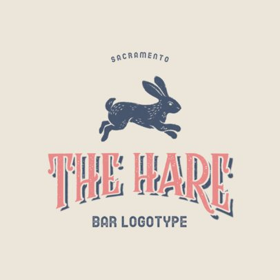 Hipster Logo Generator for a Bar Featuring a Hare Clipart 3064a