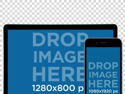 MacBook and iPhone Mockup Over a PNG Background (Frontal View) a12408