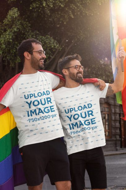 T-Shirt Mockup of a Happy Couple Celebrating LGBTQ Pride 32975