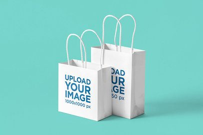 Mockup Featuring Two Gift Bags Standing Against a Plain Color Background 3480-el1