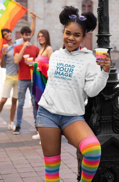 Hoodie Mockup of a Woman at the LGBT Parade 33004