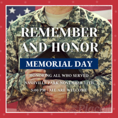 Instagram Post Video Template for a Memorial Day Remembrance 1310