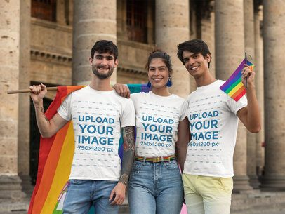 T-Shirt Mockup Featuring a Group of Friends Holding Rainbow Flags 33008