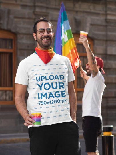 T-Shirt Mockup Featuring a Happy Man Enjoying the Celebration of LGBTQ Pride 32958