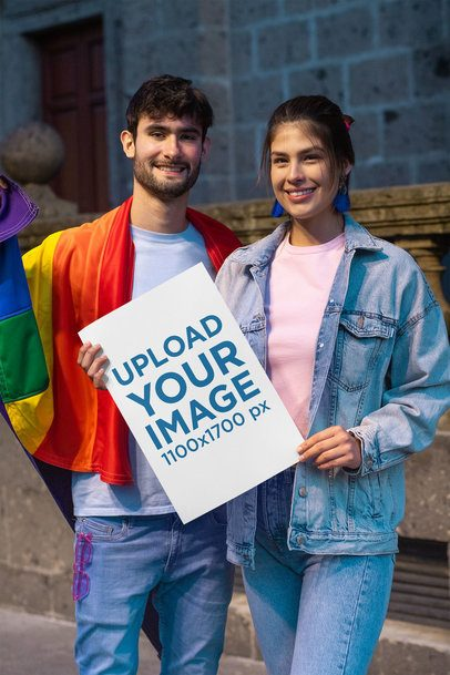 Mockup Featuring Two Friends Holding a Poster at an LGBTQ Pride Parade 33009
