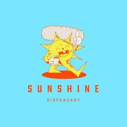 Cannabis Supply Store Logo Creator with a Smiling Sun Cartoon 3082e
