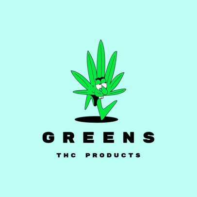 Logo Template for THC Products Featuring a Weed Cartoon 3082j
