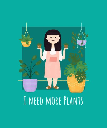 Plant Lady T-Shirt Design Generator with a Smiling Woman Illustration 2394e