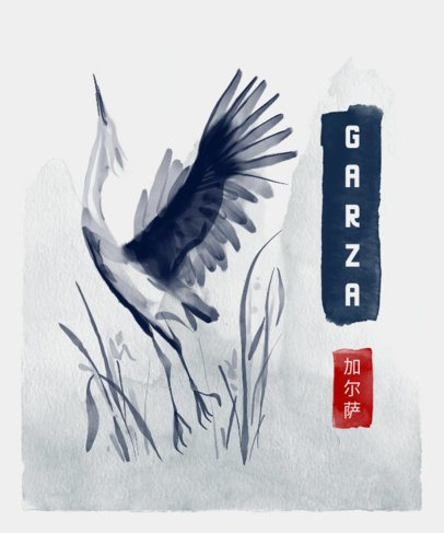 Japanese-Style T-Shirt Design Creator Featuring a Heron 3080c