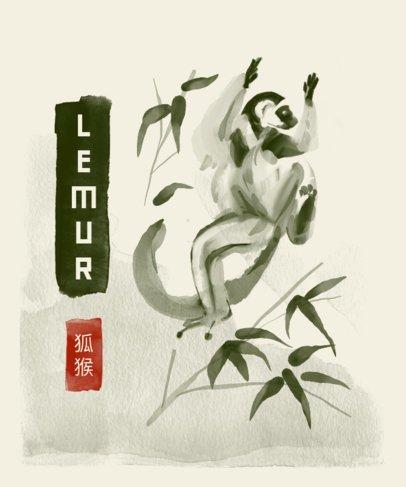 T-Shirt Design Creator with Black Ink Featuring a Lemur 3080d