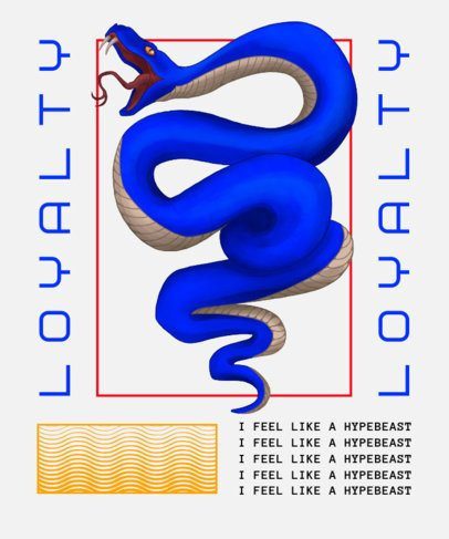 Trendy T-Shirt Design Template with the Illustration of a Blue Snake 2398a