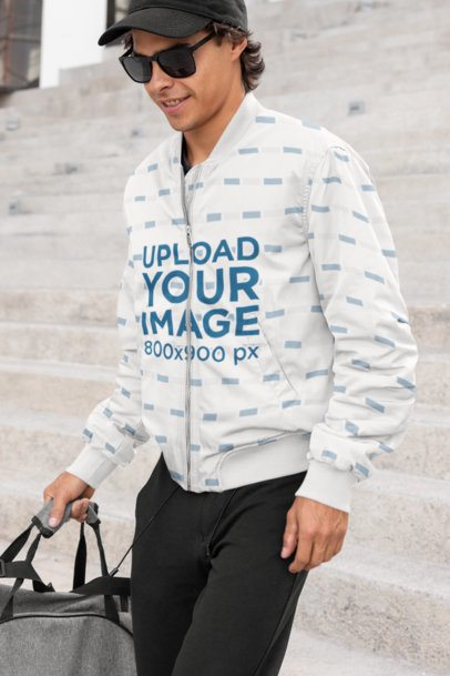 Bomber Jacket Mockup Featuring a Cool Man 33220