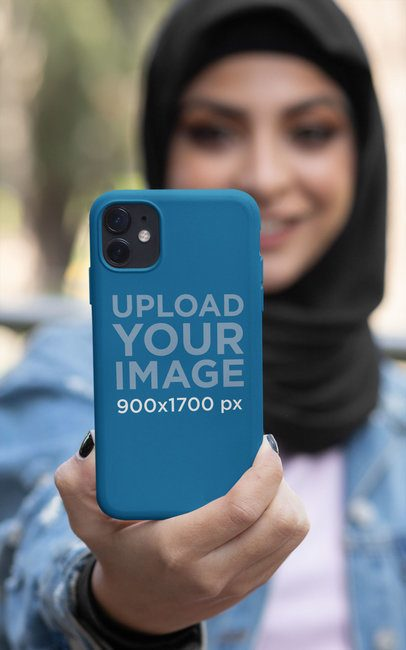 Phone Case Mockup Featuring a Woman in a Hijab 32417