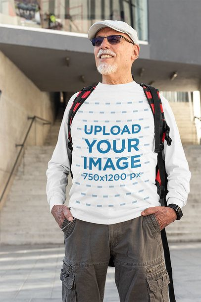Long Sleeve Tee Mockup of a Happy Man Exploring the City 32874