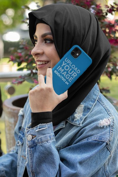 Phone Case Mockup Featuring a Woman Talking on the Phone Outside 32415