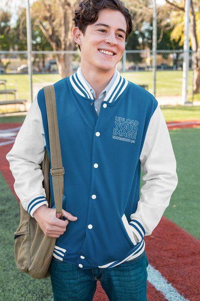 Mockup of a Young Man Wearing a Varsity Jacket 33202