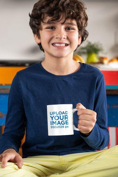 11 oz Mug Mockup Featuring a Smiling Boy at Home 33172