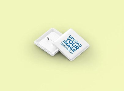 Minimal Square Pin Button Mockup With a Customizable Background 3523-el1