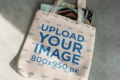 Tote Bag Mockup Featuring Some Magazines 3147-el1