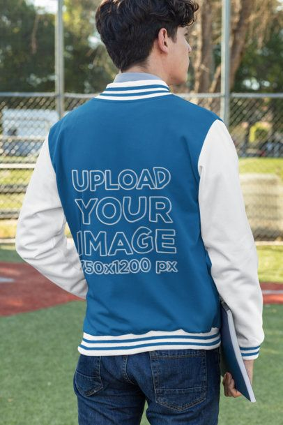 Back-View Mockup of a Man Wearing a College Jacket 32203