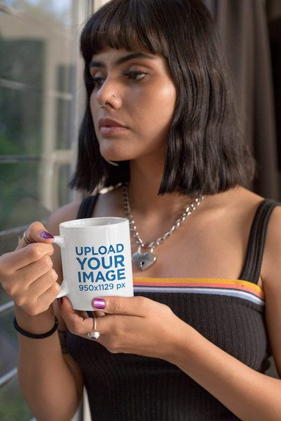 11 oz Mug Mockup Featuring a Serious Woman with Short Hair 33328