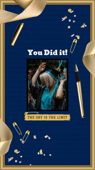Graduation Day Instagram Story Maker with Golden Ribbon Graphics 2430e