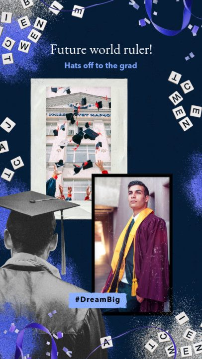 Instagram Story Maker Featuring a Cool Graduation-Themed Frame 2430u