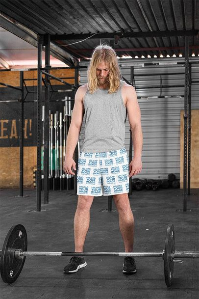 Shorts Mockup of a Long-Haired Man Training with a Barbell 33053