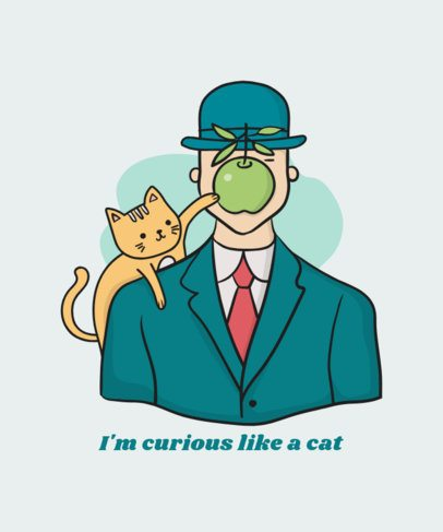 Parody T-Shirt Design Creator Featuring a Cat with a Green Apple 834b