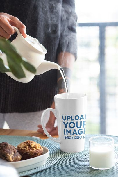 Mockup of a Woman Pouring Water into a 15 oz Mug 33183