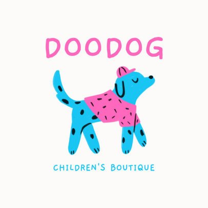 Logo Generator for a Children's Boutique Featuring a Hand-Drawn Dog Graphic 3116d