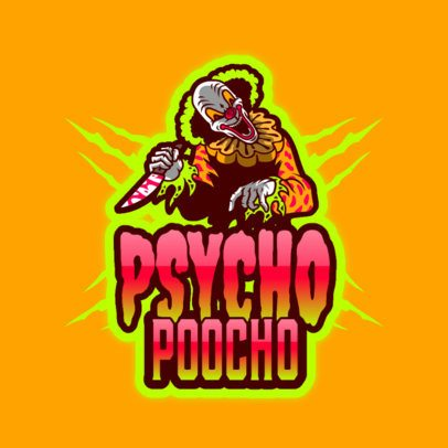 Logo Template for Gamers Featuring a Psycho Clown Clipart 3128i