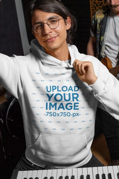 Pullover Hoodie Mockup of a Musician with a Keyboard 33327