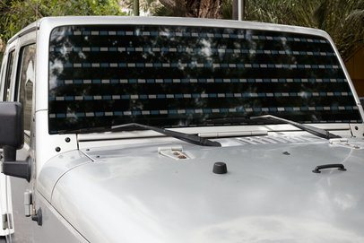 Mockup of a Window Decal Placed on the Windshield of an Off-Road Truck 33256