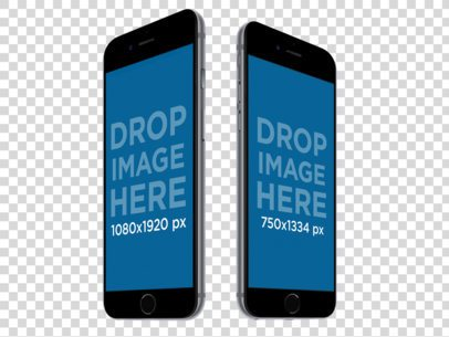 Two Black iPhone 6 Plus Over a Transparent Background Mockup a12292b