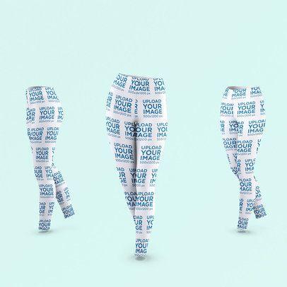 Mockup of Thee Ghosted Women's Leggings in a Walking Pose 3648-el1