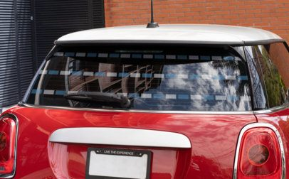 Mockup of a Rear Window Decal Placed on a Subcompact Vehicle 33255