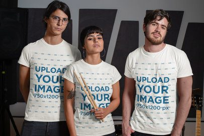 Mockup Featuring Three Musicians Wearing Customizable T-Shirts 33323